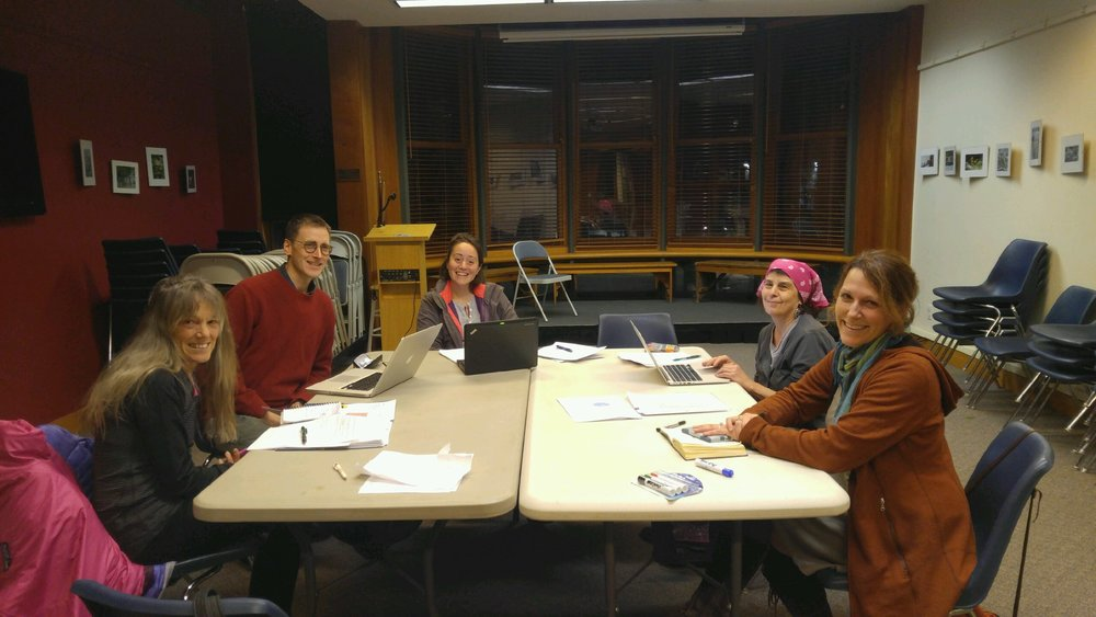 Task force members at a recent meeting at the library.