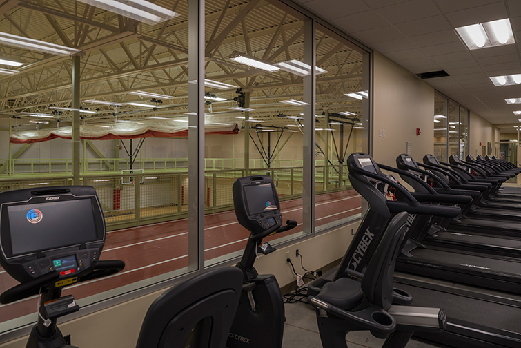 Fitness machines and an elevated track at the new recreation center.