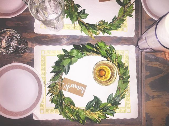Greek themed holiday dinner for the @whotels team with the help of @crownsbychristy.