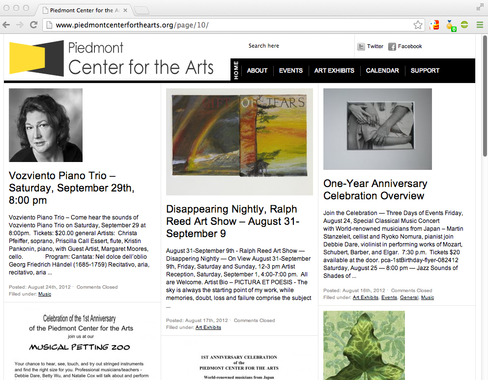 Piedmont Center for the Arts: Website development, logo, stationary