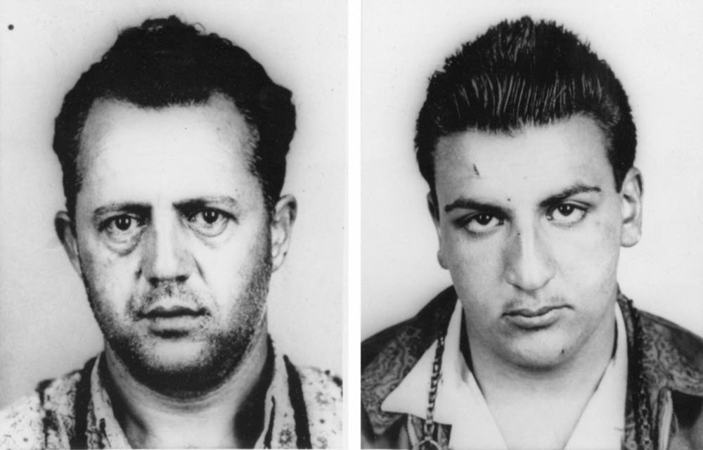 Police mugshots of Rudolph Marfeo, left, and Anthony Melei, right. The two were said to be close friends.  Providence Journal file photo.