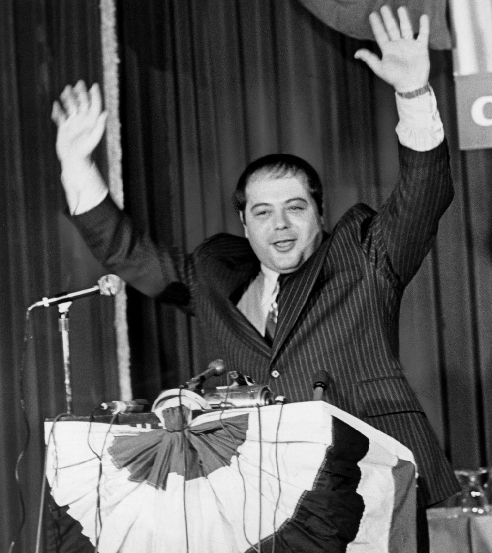 Buddy Cianci announces his candidacy for mayor at a 1974 news conference. In his late twenties, Cianci became an assistant prosecutor in the Rhode Island Attorney General's office. There, Cianci was assigned to a murder case that launched his political career. Courtesy of the Providence Journal.