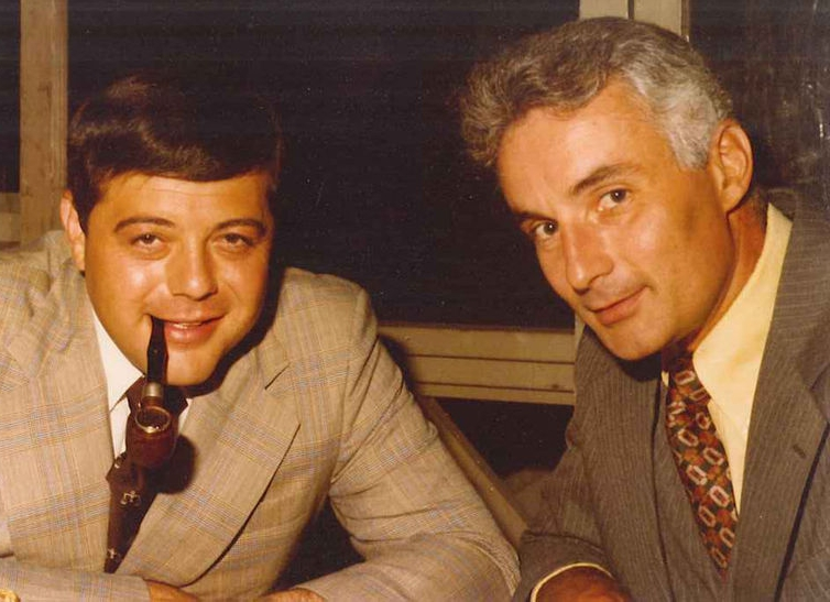 Buddy Cianci, left, with Vinny Vespia in the early 1970s. Vinny was at dinner with Buddy when he made the decision to run for mayor of Providence. Courtesy of Sheila McKenna.