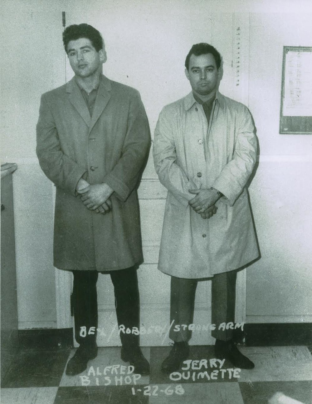 "Freddy Bishop, left, and Gerard Ouimette in a 1968 police photo. Ouimette was the right-hand man of mob boss Raymond Patriarca  at the Adult Correctional Institutions . Nicknamed ""The Frenchman,"" Ouimette was so powerful that he had a phone inside his cell.  Providence Journal file photo."