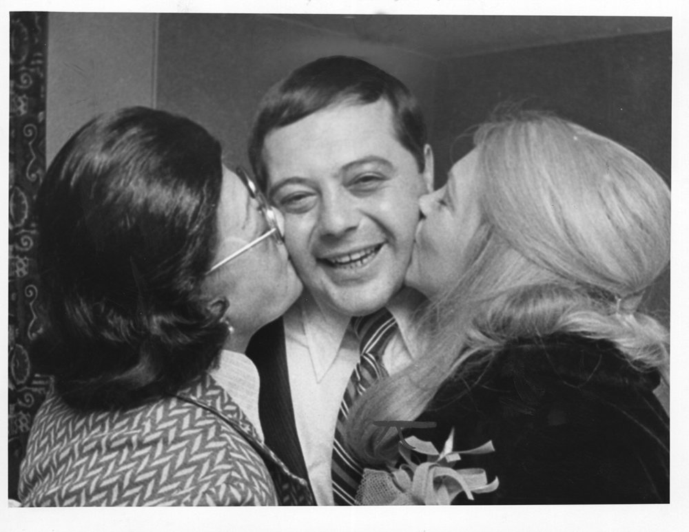 Buddy celebrates his 1974 mayoral win with his mother and wife. He won by just 709 votes. Providence Journal/William K. Daby.