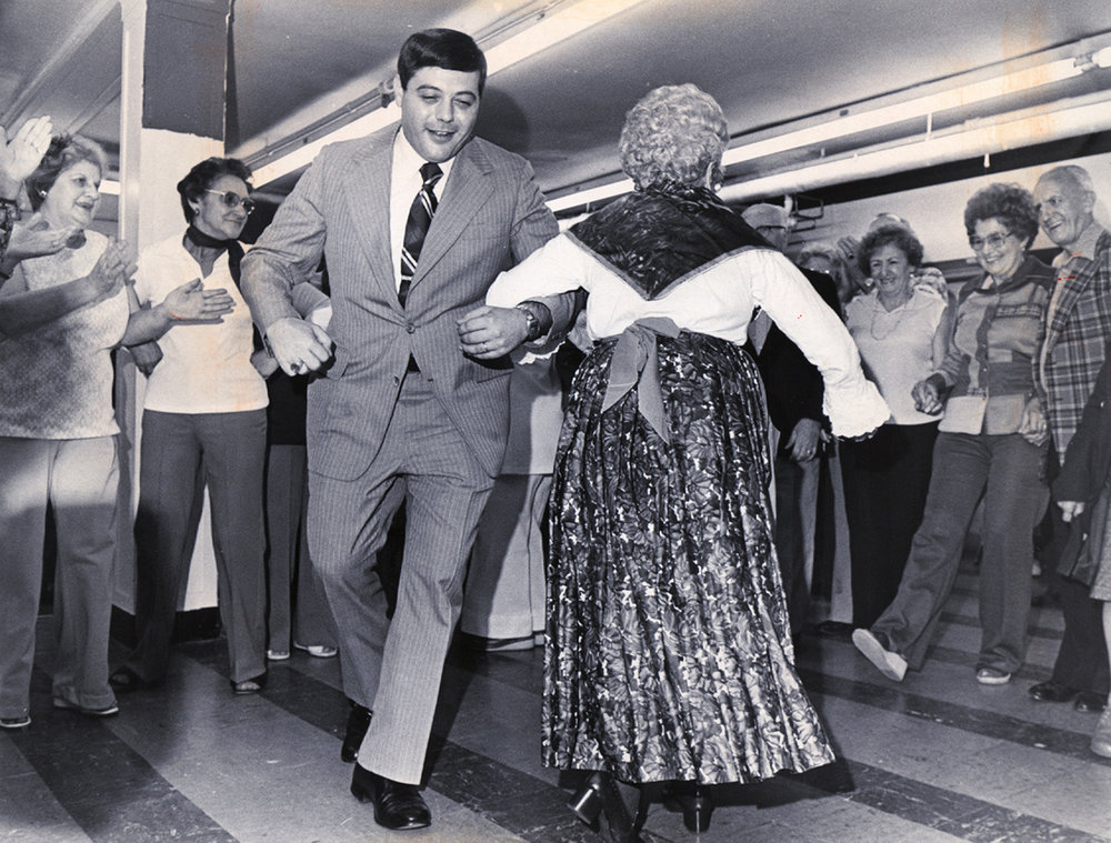 Buddy dances with a spry senior.  Providence Journal file photo/Reynold R. Paniccia.