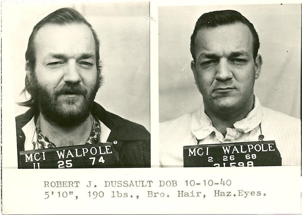 "Police mugshots of Dussault from a few years before the Bonded Vault heist. He was in and out of jail frequently. Courtesy of ""The Last Good Heist,"" Publisher Globe Pequot."
