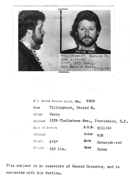 A police mugshot from Jerry Tillinghast's January 1976 arrest in connection with the Bonded Vault robbery. Courtesy of the Providence Journal.