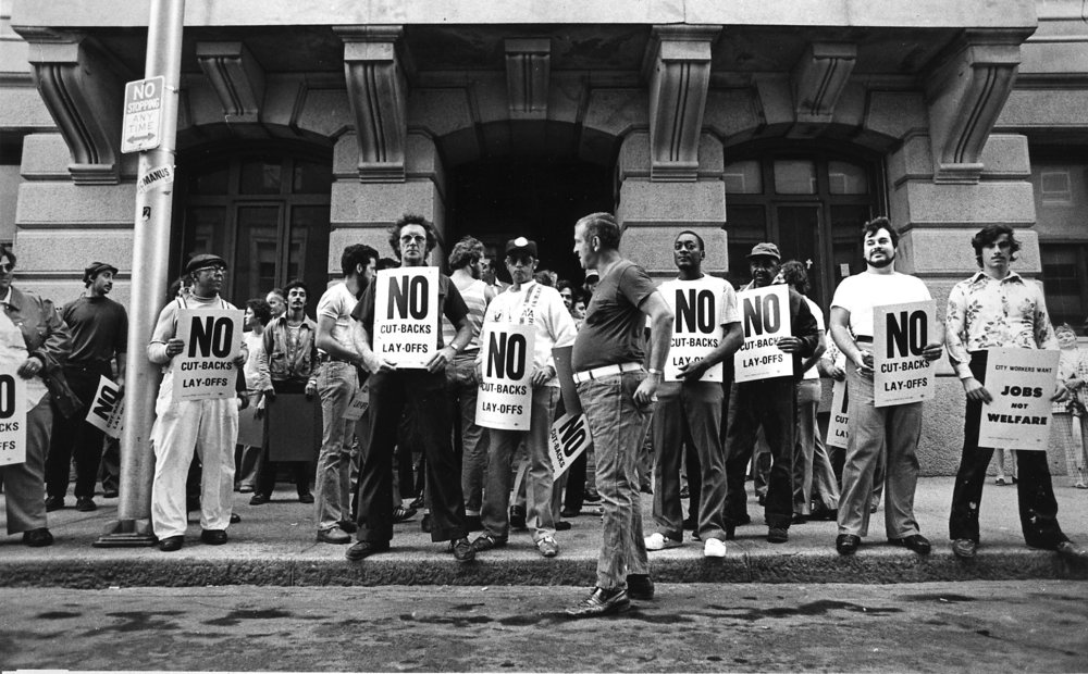 Municipal workers picket Providence City Hall after 180 employees were laid off in 1977. A few years later, Buddy was forced to lay off 300 workers because of a fiscal crisis.Courtesy of the Providence Journal.
