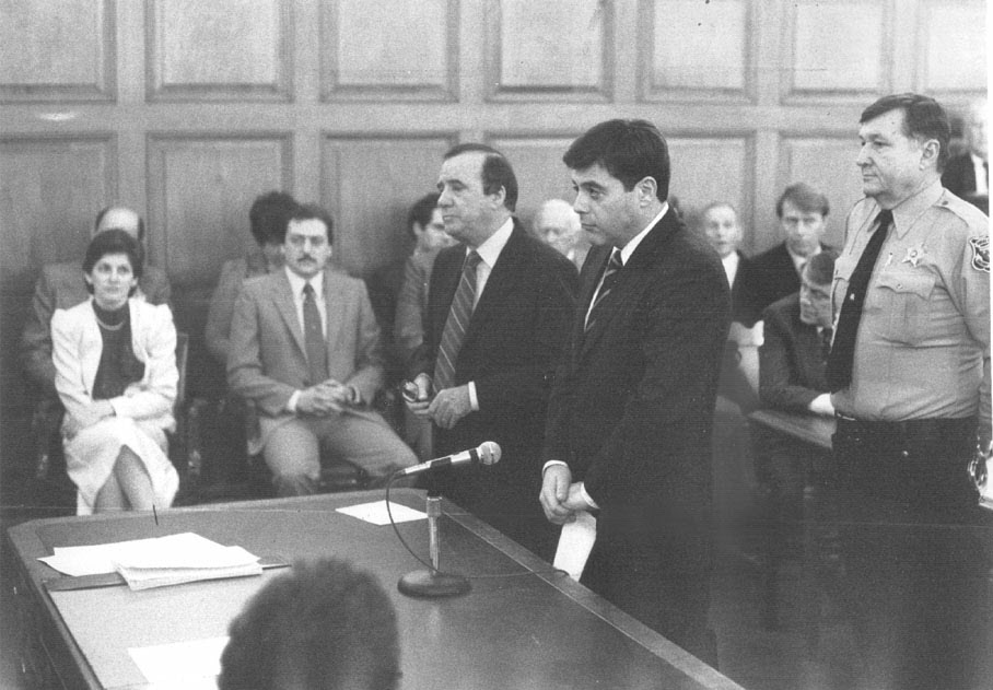 Buddy listens as a judge hands down a five-year suspended sentence on April 23rd, 1984. Courtesy of the Providence Journal/William Rooney.