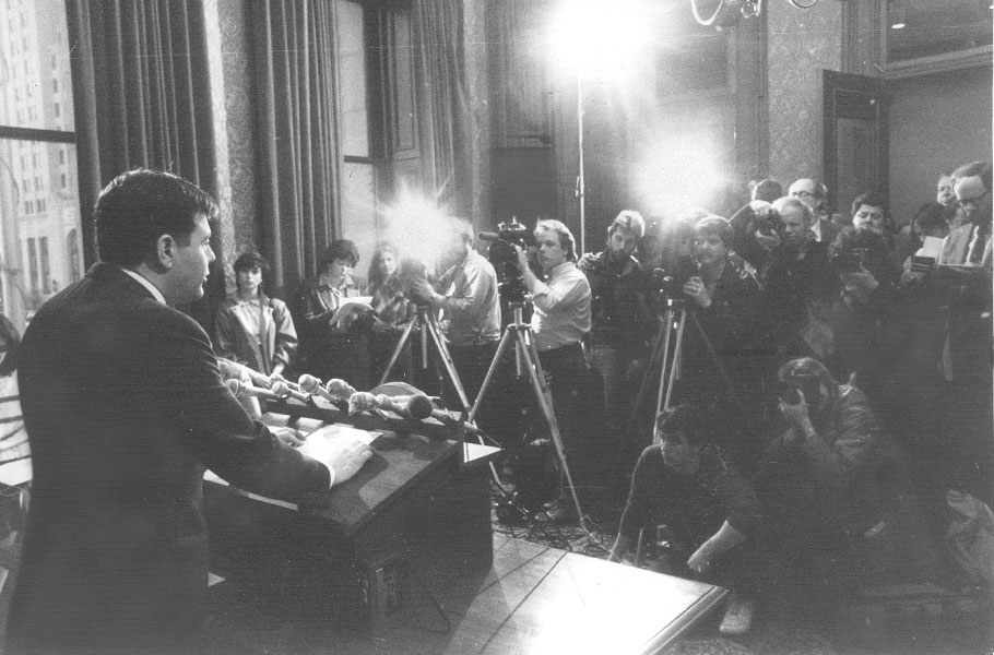 Buddy announces his resignation at a press conference in his City Hall office on April 25th, 1984. Courtesy of the Providence Journal/Pamela Price.