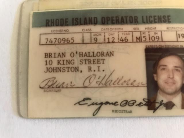 Brian used a phony Rhode Island driver's license—including a fake last name and residence—while he was surveilling Tony's home. Courtesy of Brian Andrews.