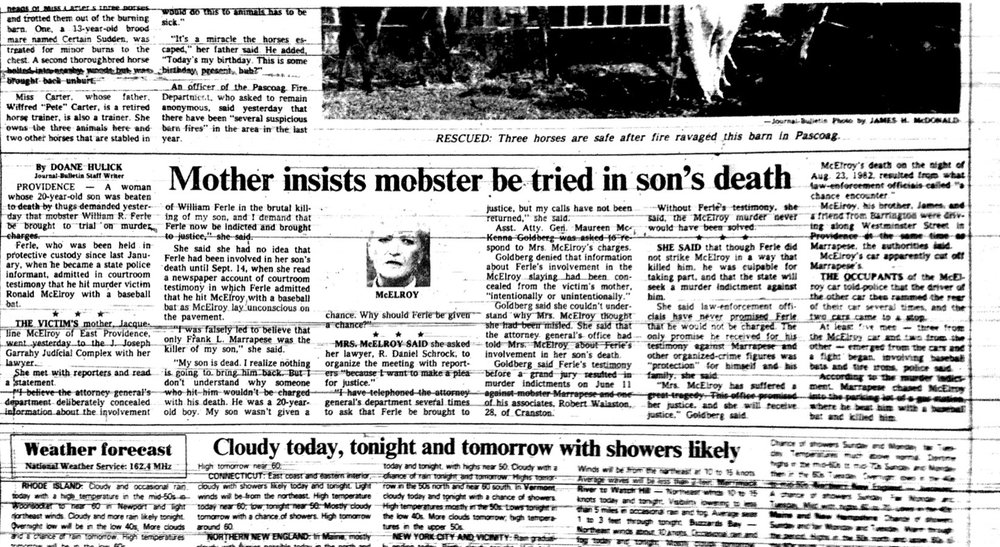 "Ronald McElroy's mother told the Providence Journal she had no idea that William Ferle had been involved in her son's death until a few months after Bobo Marrapese's indictment, when she read a newspaper account of courtroom testimony. ""I believe the attorney general's department deliberately concealed information about the involvement of William Ferle in the brutal killing of my son, and I demand that Ferle now be indicted and brought to justice,"" she said. Courtesy of Providence Journal."