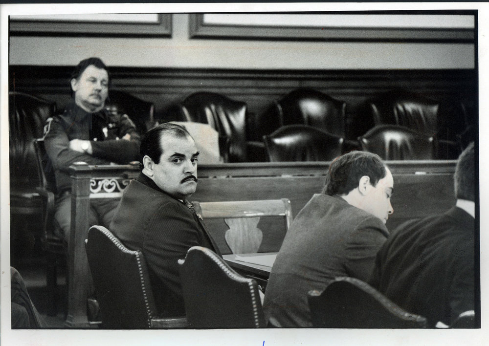 "Bobo Marrapese listens during opening statements in Superior Court, Providence, where he faces murder charges in the 1975 slaying of Richard ""Dickie"" Callei. Courtesy of the Providence Journal/Frieda Squires."