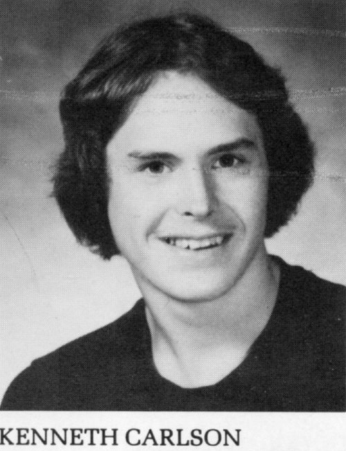Kenneth Carlson, pictured above in a high-school yearbook photo, was Ronald McElroy's best friend.