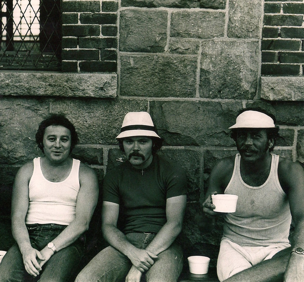 Charles (center) with Gerard Ouimette's brother, John (left), at the Adult Correctional Institutions. John was a prisoner at the time, along with Ronnie Sweet (right). John and Ronnie are drinking rum that Charles smuggled into maximum security.