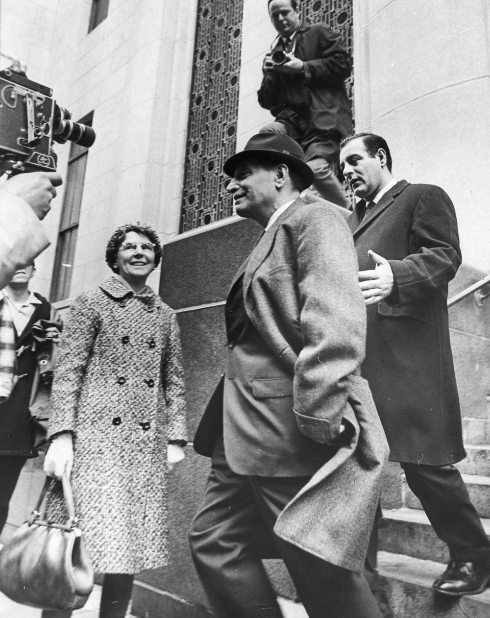Raymond Patriarca, 59, leaves federal court in Boston in 1968. Courtesy of The Providence Journal.