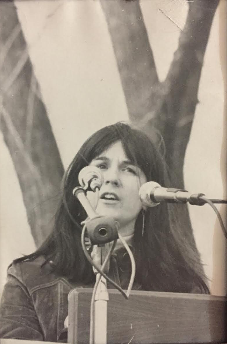 Barbara Roberts speaking at the last mass demonstration against the Vietnam War, on the grounds of the Washington Monument in 1973. Courtesy of Dr. Barbara Roberts.