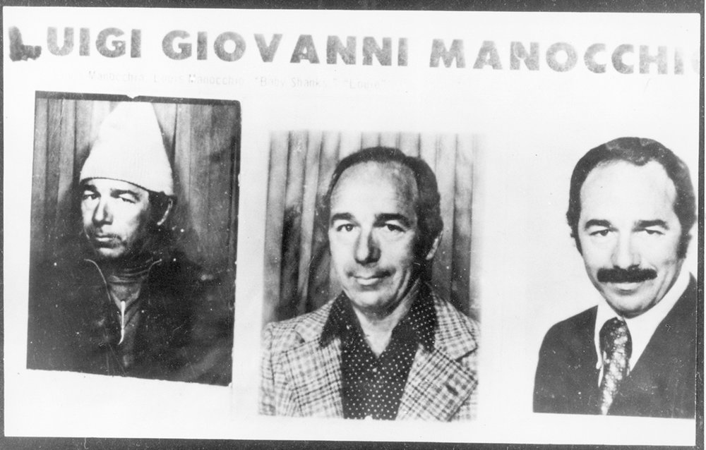 "These passport-type photos of the many faces of Luigi ""Louis"" Manocchio were discovered in a mob safehouse in New York City in 1972, while he was a fugitive. Providence Police Department photo, courtesy of The Providence Journal."