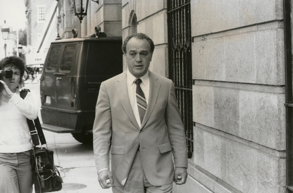 Nicky Bianco, an underboss in the Patriarca crime family, leaves Superior Court. According to later witness testimony, Bianco told Joseph Bevilacqua Sr. not to take the Chief Justice position.  Courtesy of   The Providence Journal.