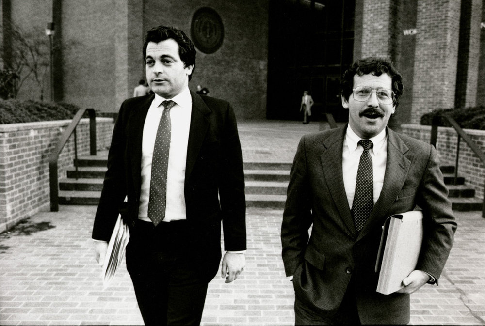 Joseph Bevilacqua Jr., left, with attorney Richard Egbert. Together, they were the defense team for Joseph Bevilacqua Sr. during the House Judiciary Committee's public inquiry. Courtesy of The Providence Journal.