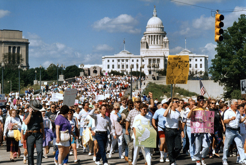 Protesters leave the State House as they march toward Kennedy Plaza during a demonstration in September 1991. Courtesy of The Providence Journal/Andrew Dickerman.