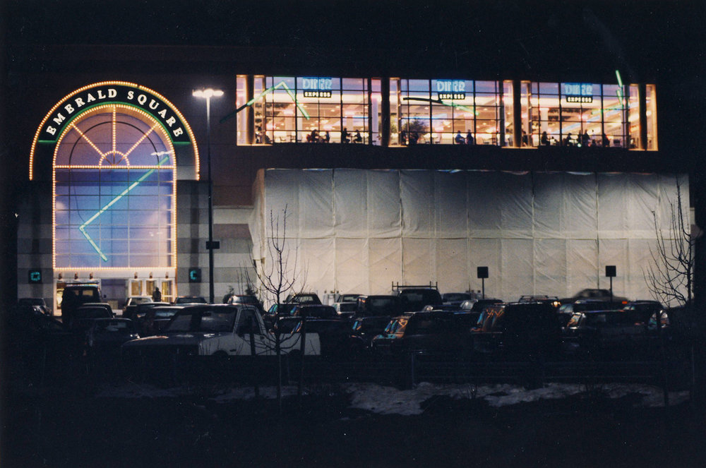 The Emerald Square Mall in North Attleboro, Massachusetts in January 1990. Tony Fiore assembled a team to rob an armored Wells Fargo truck at the mall in 1991.  Courtesy of The Providence Journal.