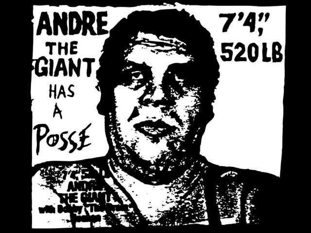 While a student at the Rhode Island School of Design, Shepard Fairey made this sticker featuring the professional wrestler Andre the Giant. The image, which began as an inside joke, eventually became an underground meme, and could be seen all over Providence.  Courtesy of Shepard Fairey.