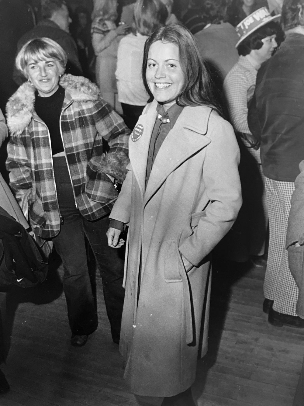 Gloria Kennedy Fleck beams as she joins other Democrats in celebrating their victories in November of 1976. Though unendorsed, she was elected the senator for District 15 in Warwick.  Courtesy of The Providence Journal/George E. Rooney.