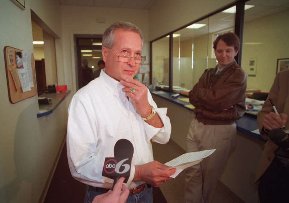 Speaking with the press at his company, JKL Engineering, Freitas announces that he is the cooperating witness helping the FBI in Operation Plunder Dome.  Courtesy of The Providence Journal/Ruben W. Perez.