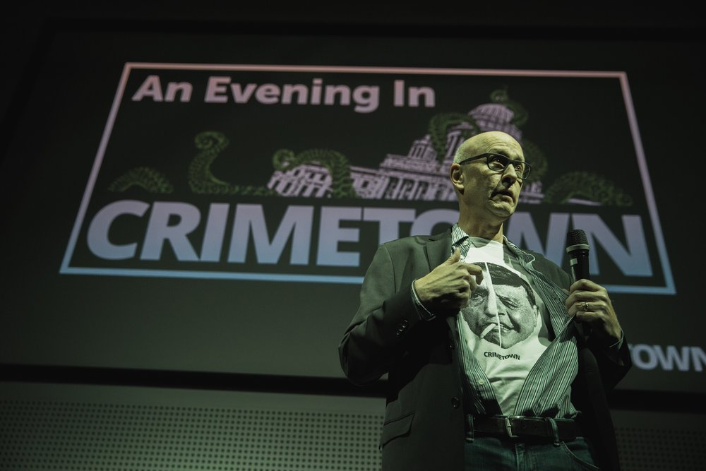 "Dan Barry modeled the new Crimetown t-shirt, which puts Buddy Cianci and Raymond Patriarca — ""the yin and the yin of Providence"" — side by side.  Courtesy of  David Jacobson ."