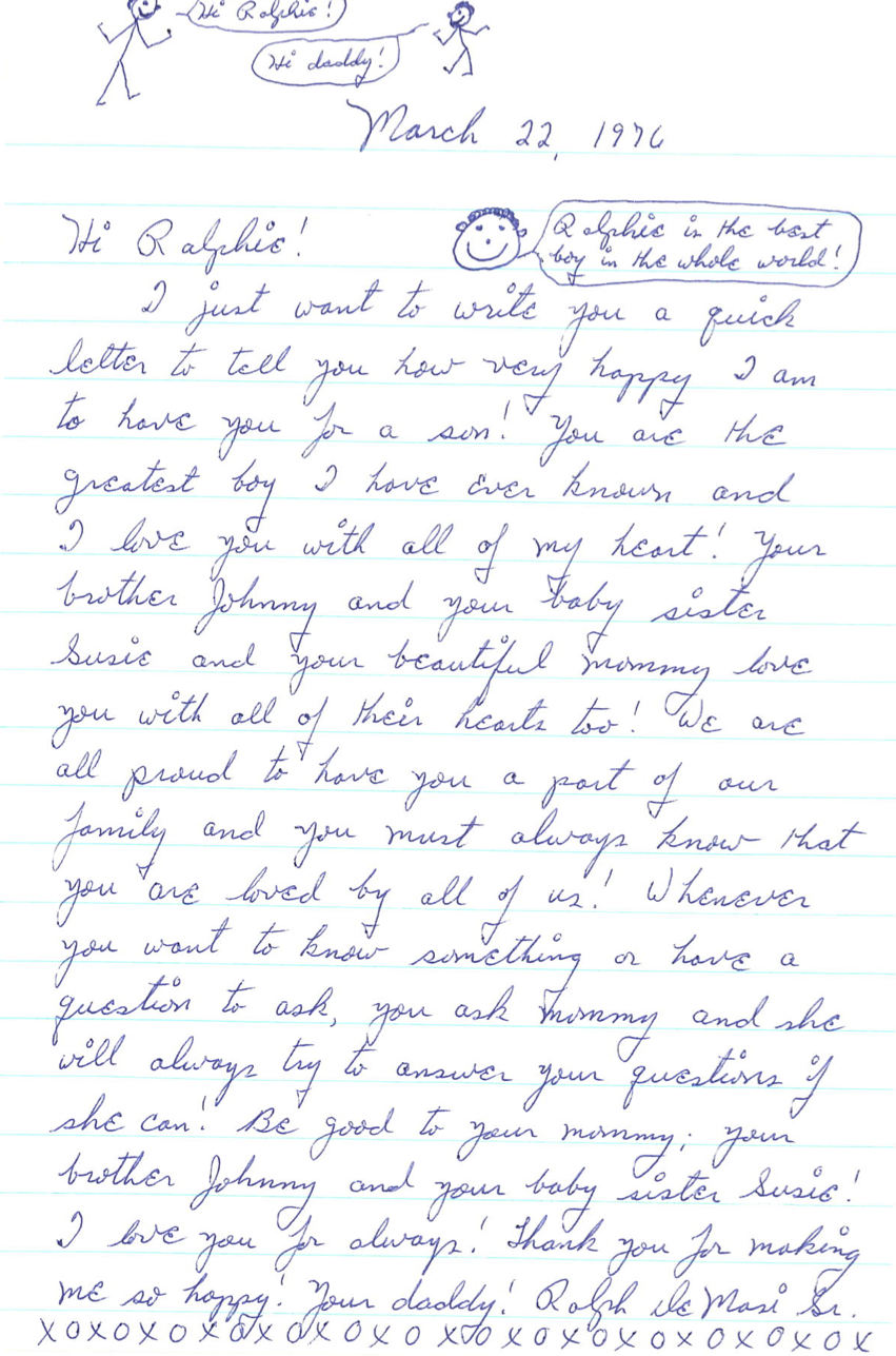 Ralph sent letters and audio messages from prison to his kids. This 1976 letter was addressed to his son Ralph Jr.  Courtesy of Ralph DeMasi.