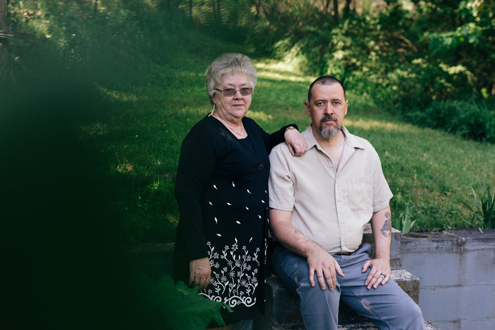 Jeanette Morlock, Ed's widow, is pictured here in 2017 with her son Ed Morlock Jr., who also took up work as an armored truck guard toward the end of his father's life. Courtesy of The New York Times/Andrew White.