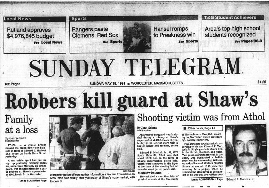 Armored truck guard Ed Morlock Sr. was gunned down during a heist at a Shaw's supermarket in Massachusetts in 1991. The murder went unsolved for more than two decades.Courtesy of The New York Times.