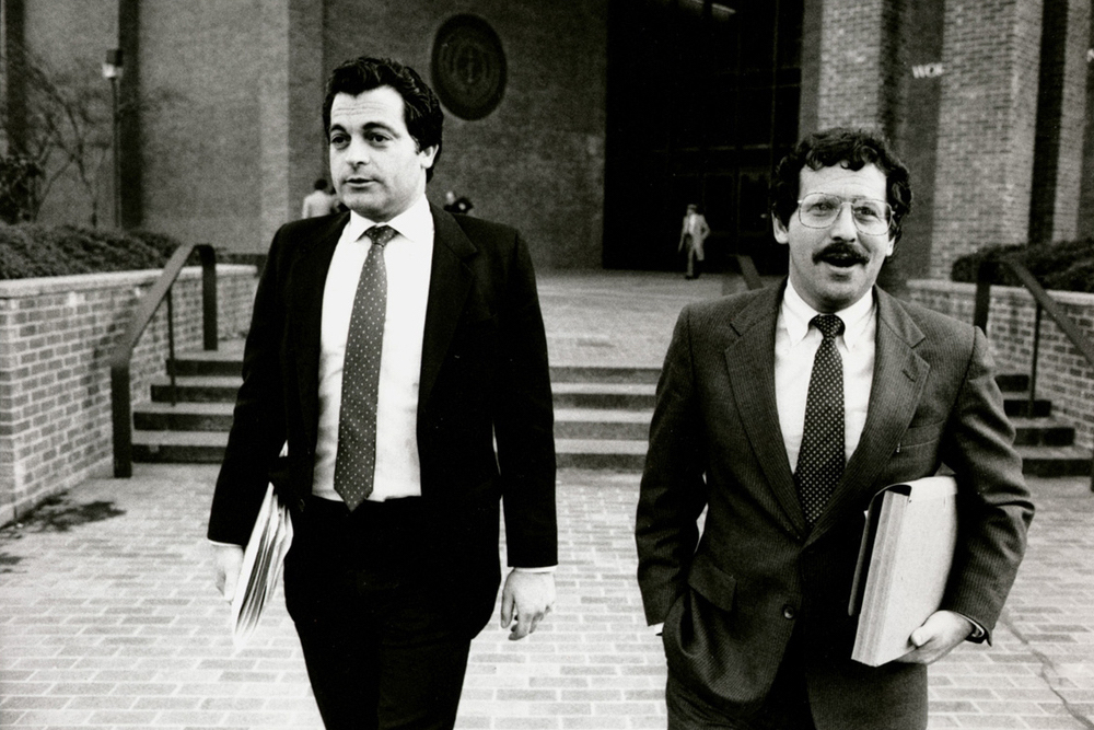 Bevilacqua worked with defense attorney Richard M. Egbert, right, during his father's impeachment hearings.  Courtesy of The Providence Journal.