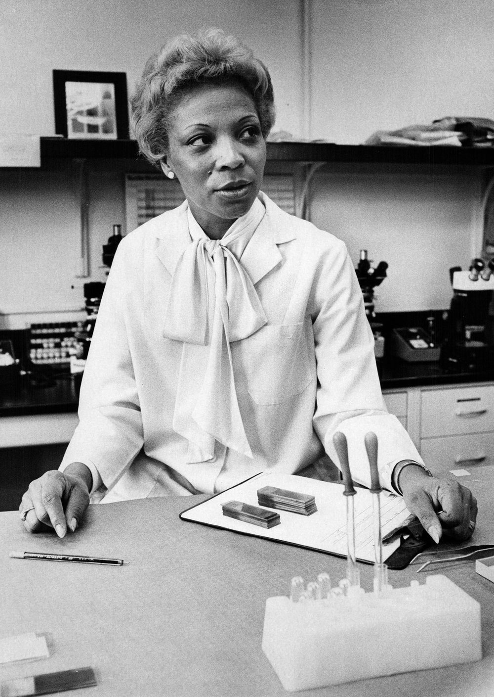 Crime lab technician Mary Jarrett Jackson was one of the first black women hired at the Detroit Police Department.  Courtesy of the Detroit Free Press .