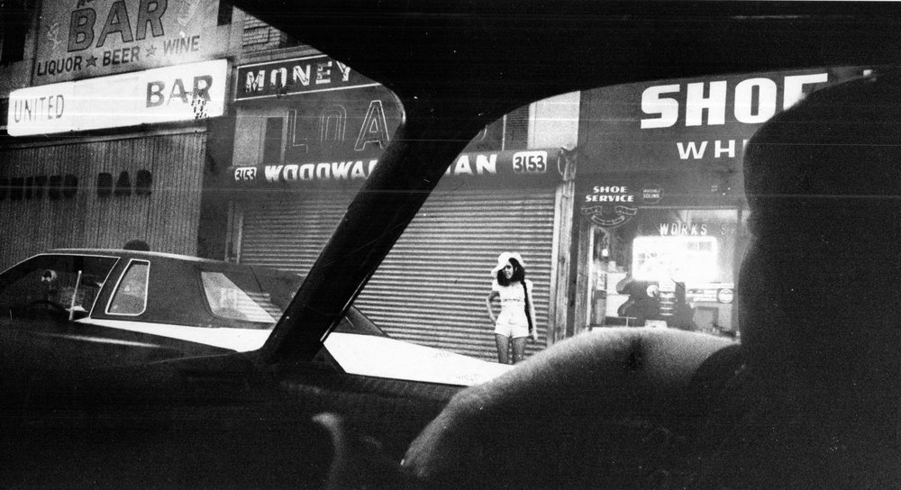 The view from inside an undercover STRESS car on patrol in 1973.  Courtesy of the Detroit Free Press.