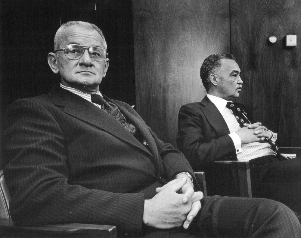 Police commissioner John Nichols and state senator Coleman Young in September 1973.  Courtesy of the Detroit Free Press.