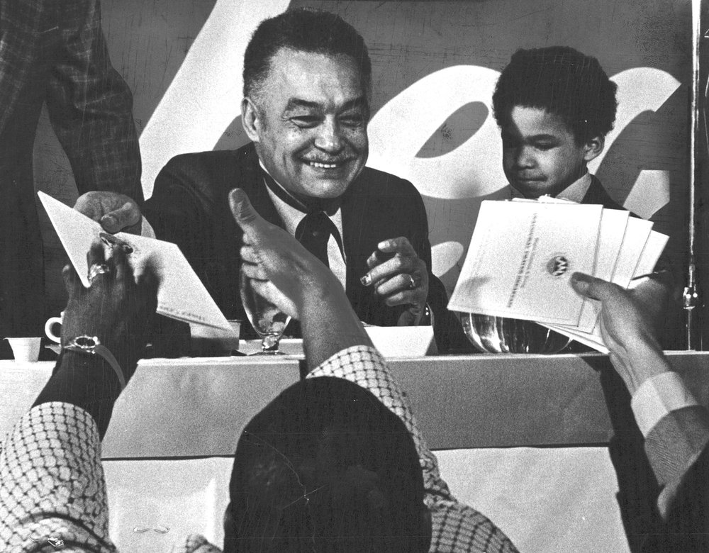 Coleman Young at his first inauguration in January 1974. Young was Detroit's first black mayor.  Courtesy of the Detroit Free Press.
