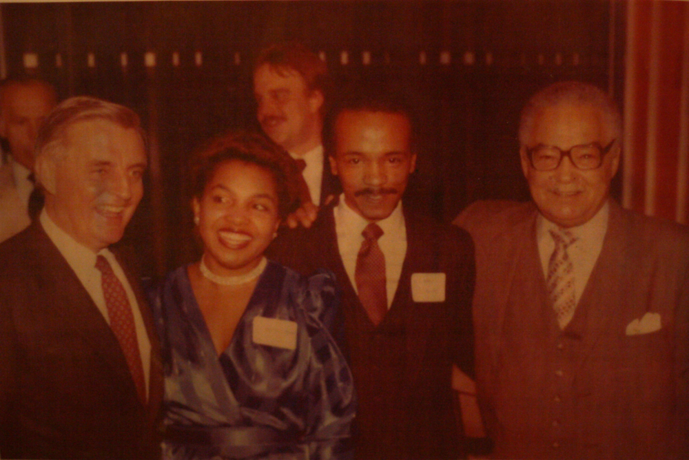 Larry Mongo and his wife Dianne were close with Detroit Mayor Coleman Young, right. They are pictured here with Vice President Walter Mondale, left.  Courtesy of Larry Mongo.