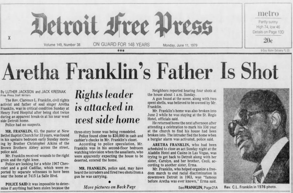When the preacher C.L. Franklin was shot, the police initially had a hard time finding the suspects. So Mayor Coleman Young called on Larry Mongo to ask around in the streets and find out who was responsible. Courtesy of the Detroit Free Press.