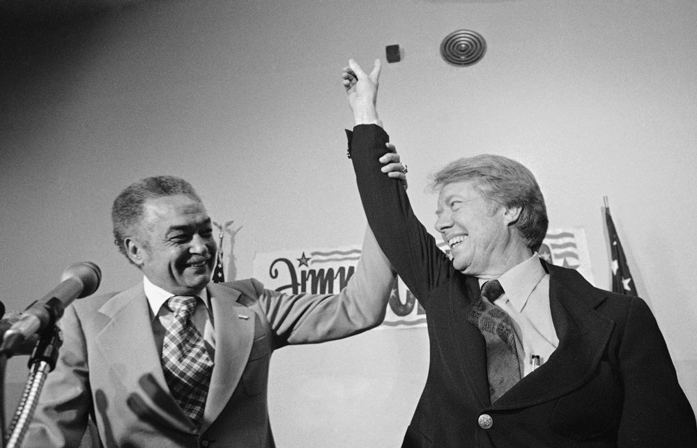 President Jimmy Carter was close with Mayor Coleman Young, who was an early supporter of Carter's candidacy. According to Dianne Mongo, the two men occasionally met at Jack's Barber Lounge to for private conversations. Courtesy of the Detroit Free Press.