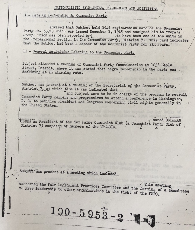 FBI agents would follow Coleman Young to meetings with other Communist Party members. They also had informants inside the Party, as this document indicates.