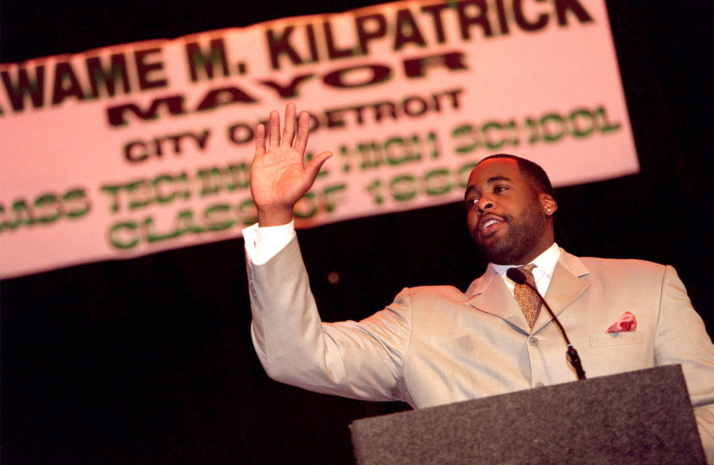 Detroit Mayor Kwame Kilpatrick addresses students, teachers, and administrators during a community reception at his alma mater Cass Tech High School during his inaugural week in 2002.  Courtesy of the Detroit Free Press.