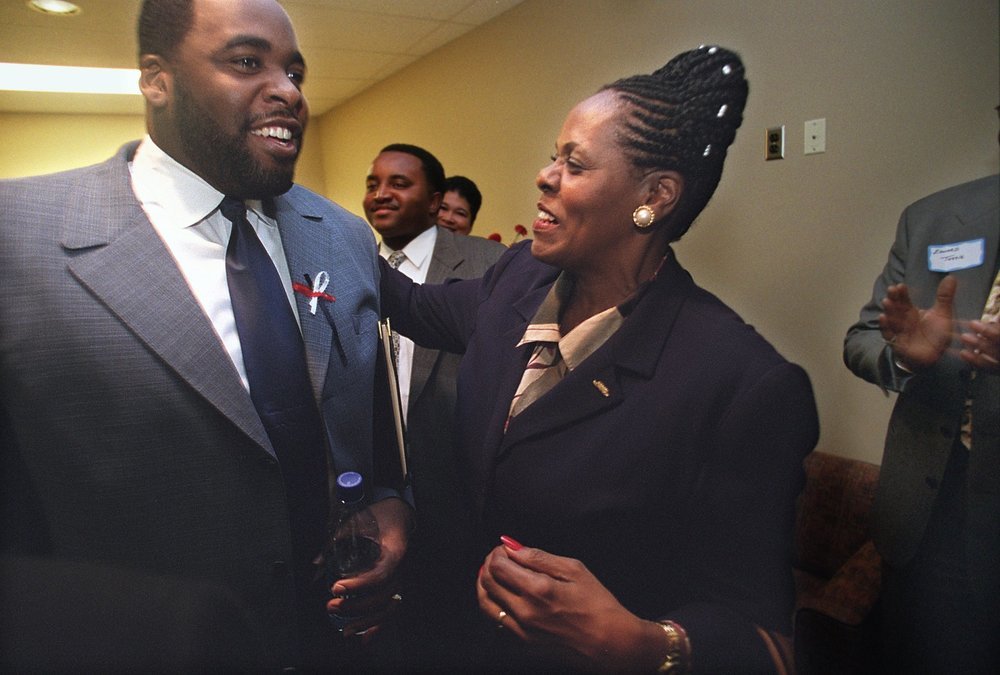 Kwame's mother, Carolyn Cheeks Kilpatrick, had served in the Michigan state legislature for nearly two decades when she decided to run for the U.S. House of Representatives. At the age of 26, Kwame decided to run for his mother's seat in the state house.  Courtesy of the Detroit Free Press.