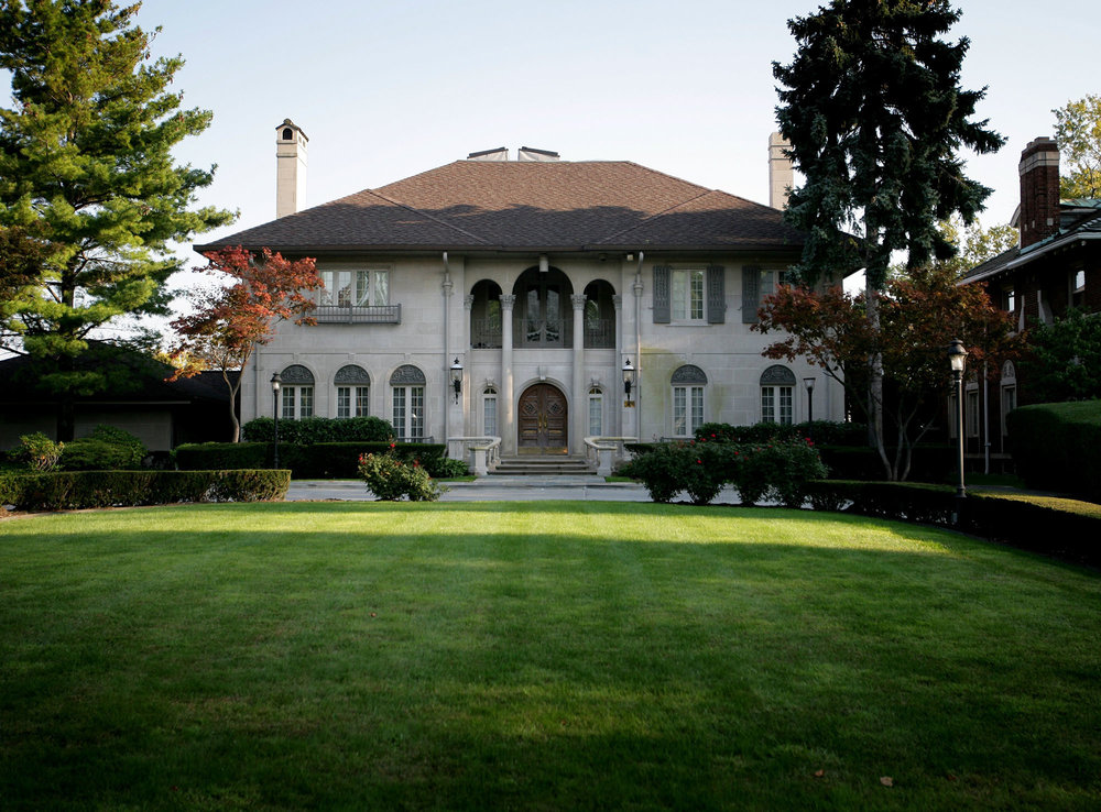 In 2002, rumors began to swirl about a wild party at the Manoogian Mansion, the official residence of the mayor of Detroit. The stories varied, but often alleged that Kwame and some friends received lap dances from strippers.  Courtesy of the Detroit Free Press.