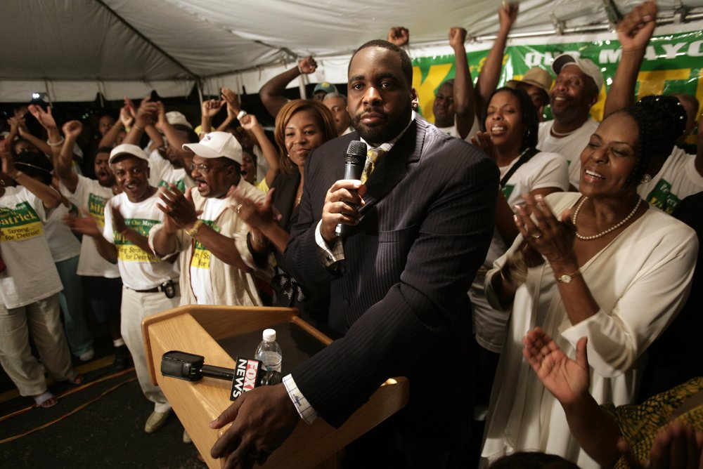 Mayor Kwame Kilpatrick talks to his supporters at the end of primary voting in downtown Detroit in the 2005 mayoral election. Kilpatrick finished second, placing him in a difficult position to win re-election.  Courtesy of the Detroit Free Press.