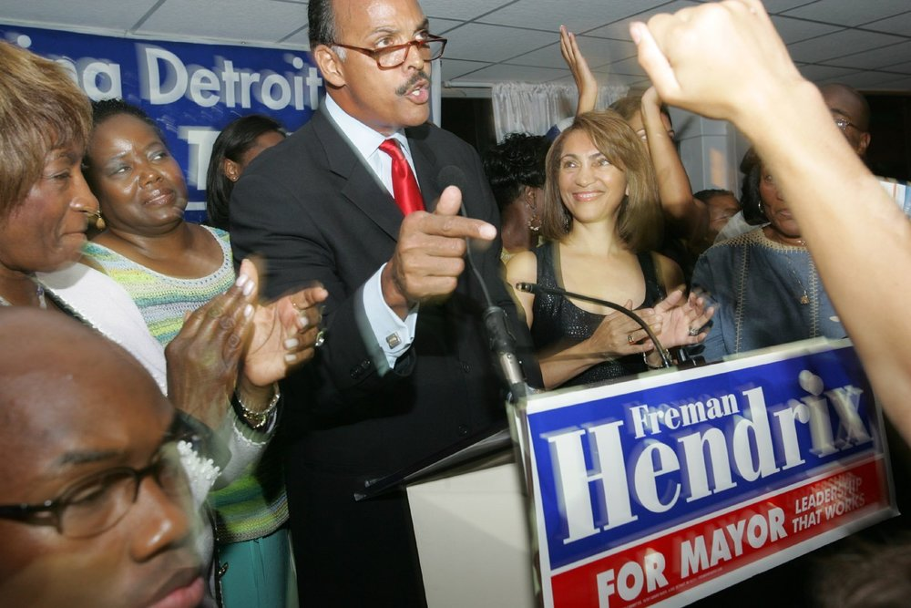 Mayoral candidate Freman Hendrix addresses a crowd at his campaign party after polls closed in the 2005 primary. Hendrix cast himself as a safe, responsible choice for mayor, highlighting the scandals swirling around his opponent.  Courtesy of the Detroit Free Press.