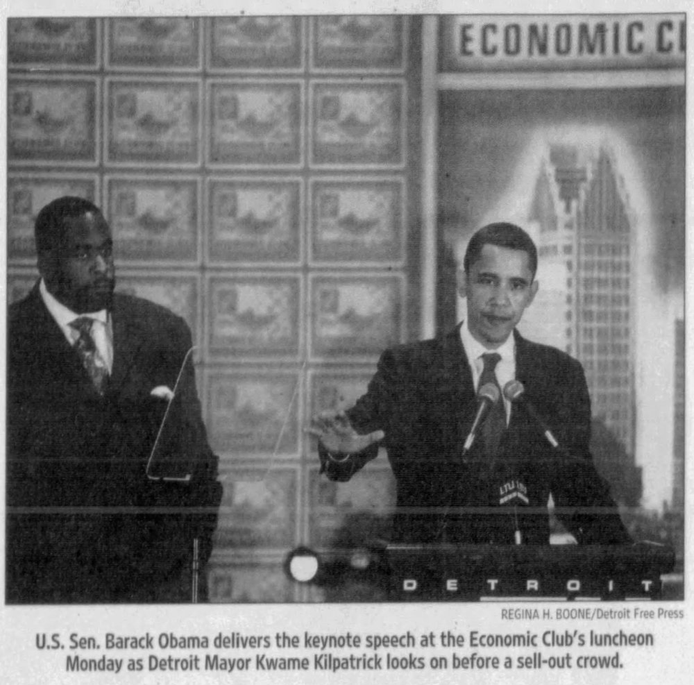 Kwame Kilpatrick had to watch Barack Obama's 2008 presidential victory speech from county jail. The two had crossed paths several times, including in 2007, when Obama visited Detroit to speak at an Economic Club forum.  Courtesy of the Detroit Free Press.