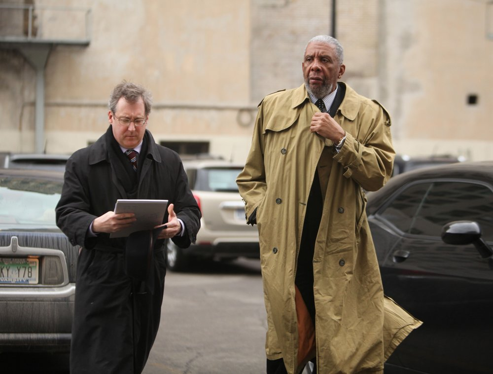 Bernard Kilpatrick arrives at the federal courthouse in Detroit with his lawyer. Bernard was found guilty on only one of his four counts, and was ultimately sentenced to just 15 months in prison.  Courtesy of the Detroit Free Press.